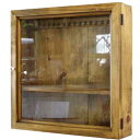 コレクションケース 透明ガラス扉 アンティークブラウン w40d10h40cm フック・棚付き 木製 ひのき オーダーメイド