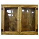 アンティークブラウン 透明ガラス両開き扉のアクセサリーケース(60×10×50cm)L字フック付きジュエリーケース 受注製作