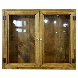 アクセサリーケース 透明ガラス 両開き扉 アンティークブラウン w60d10h50cm L字フック付き 木製 ひのき オーダーメイド