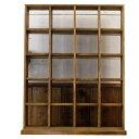 コレクションラック (W52×D23×H65.5cm) 木製 ひのき マス目 シェルフ スタンド ディスプレイラック 棚 アンティークブラウン 受注製作