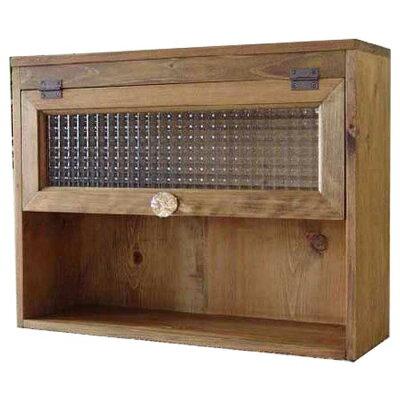 アンティークブラウンフローラガラス扉の二段スパイスラック(置き型タイプ)