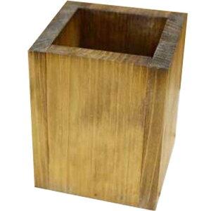 ペンスタンド アンティークブラウン 8×8×10cm 北欧 木製 ひのき ハンドメイド オーダーメイド 1527940