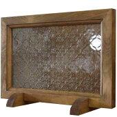 ガラスフレームフレームスタンドセット木製ひのきアンティークブラウンフローラガラス片面仕様30×2×20cm北欧