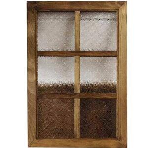 ガラスフレーム 木製 ひのき アンティークブラウン フローラガラス 両面仕様桟入り 40×60cm・厚み2.5cm 北欧 オーダーメイド 1354963