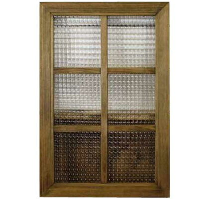 ガラスフレーム木製ひのきフランス製チェッカーガラス両面仕様桟入り40×60cm・厚み2.5cm北欧アンティークブラウン
