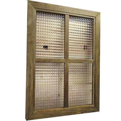 ガラスフレーム木製ひのきフランス製チェッカーガラス両面仕様桟入り45×60cm・厚み2.5cm北欧(アンティークブラウン)