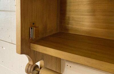 キッチンペーパーホルダーW31xD17xH28木製扉壁かけラックレギュラーサイズ(230mm)アンティークブラウンハンドメイド手作りオーダーメイド木製ひのき受注製作
