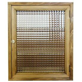 トイレットペーパーキャビネット(ニッチ用埋め込みタイプ)アンティークブラウン チェッカーガラス パンプキンノブ 木製 ひのき オーダーメイド