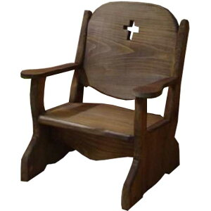 ベビーチェア クロス アンティークブラウン w35d29h42cm 子供用椅子 木製 ひのき オーダーメイド 1628406