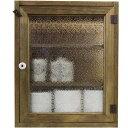アンティークブラウン フローラガラスのトイレットペーパーキャビネット(ニッチ用埋め込みタイプ) 受注製作