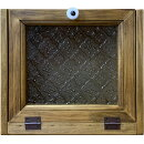 ブレッドケース角型フローラガラス25×17×21cmアンティークブラウン木製ひのきハンドメイドオーダーメイド