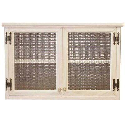 吊り戸棚木製ひのきアンティーク調家具桟入りチェッカーガラス扉壁掛けキャビネットパンプキンノブホワイトステイン