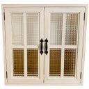 室内窓 チェッカーガラス扉 ホワイトステイン 両面仕様 60×15×60cm 扉の厚み3cm 木製 ひのき ハンドメイド オーダーメイド