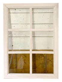 室内窓 透明ガラス 両面桟入り 52×72cm・厚み3.5cm ホワイトステイン ハンドメイド 木製 ひのき オーダーメイド 1191921