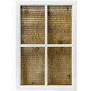 室内窓 チェッカーガラス 両面十字桟 ホワイトステイン 70×2.5×50cm 木製 ひのき ハンドメイド オーダーメイド