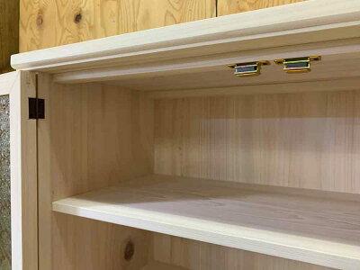 吊り戸棚ホワイトステイン64×30×40cmフローラガラス扉パンプキンノブ壁掛けキャビネット木製ひのきハンドメイドオーダーメイド