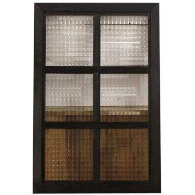 ガラスフレーム木製ひのきブラックオイルステインフランス製チェッカーガラス両面仕様桟入り40×60cm・厚み2.5cm北欧