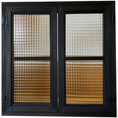 室内窓ブラックオイルステインw60d15h60cmチェッカーガラス両面桟入り飾り蝶番アイアン取手木製ひのきハンドメイド受注製作