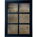 ガラスフレームチェッカーガラス両面仕様桟入り45×3.5×60cmブラックオイルステイン北欧木製ひのきハンドメイドオーダーメイド