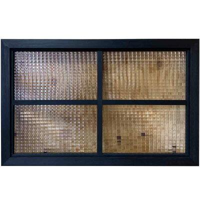 室内窓ブラックステイン78×3.5×50cmチェッカーガラス両面桟入り木製ひのきハンドメイドオーダーメイド
