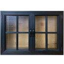 室内窓チェッカーガラスブラックステイン75×15×55cm・厚み3cm両面仕様桟入りアイアン取っ手木製ひのきハンドメイドオーダーメイド