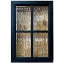 室内窓チェッカーガラスブラックステイン40×3.5×60cm両面桟入り木製ひのきハンドメイドオーダーメイド