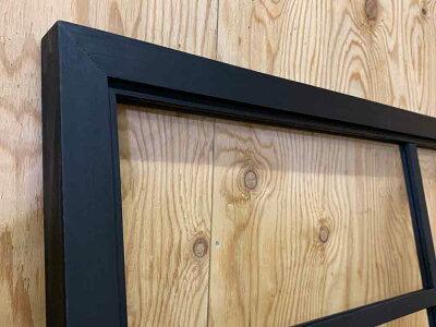 室内窓ブラックステイン100×3.5×50cm透明ガラス両面桟入り木製ひのきハンドメイドオーダーメイド