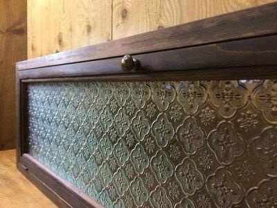 早め発送1438620訳アリ横型キャビネットダークブラウン90×18×26cmフローラガラス上置き収納納真鍮つまみ木製ひのきハンドメイド