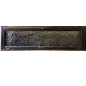 早め発送 1492736 訳アリ 横型キャビネット ダークブラウン 90×18×26cm フローラガラス 上置き収納納 真鍮つまみ 木製 ひのき ハンドメイド