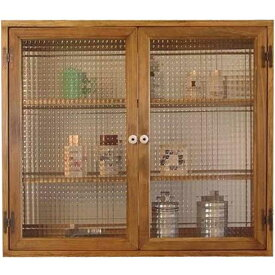 アンティークブラウン チェッカーガラスのキャビネット三段棚 マグネット仕様(ニッチ用埋め込みタイプ) オーダーメイド 1134626