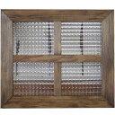 アンティークブラウン チェッカーガラスのガラスフレーム 桟入りガラス窓(40×35cm) 北欧 オーダーメイド 1220163 1213019