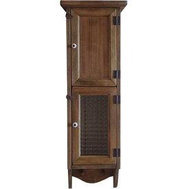 スリムキャビネット ペグつき w20d15h60cm アンティークブラウン 木製扉&チェッカーガラス扉 木製 ひのき オーダーメイド