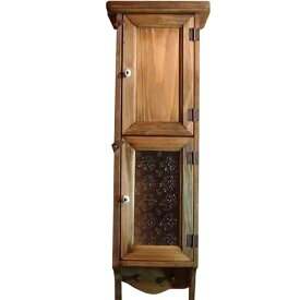 スリムキャビネット w20d15h60cm アンティークブラウン 木製扉&フローラガラス扉 ペグつき オーダーメイド
