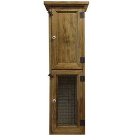 スリムキャビネット チェッカーガラス扉 w20d15h60cm アンティークブラウン 木製扉 木製 ひのき オーダーメイド
