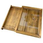 引き出し式コレクションケース透明ガラスアンティークブラウンw35d27h6cmつまみなし木製ひのきハンドメイド受注製作