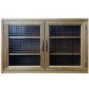 キャビネットチェッカーガラスアンティークブラウン70×33×45cmニッチ用木製ひのきハンドメイドオーダーメイド