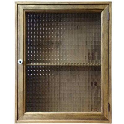 キャビネットチェッカーガラスアンティークブラウン40×13×50cm片開き扉二段棚裏板つき木製ひのきハンドメイドオーダーメイド