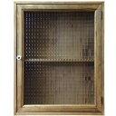 キャビネット チェッカーガラス アンティークブラウン 40×13×50cm 片開き扉 二段棚 裏板つき 木製 ひのき ハンドメイド オーダーメイ…