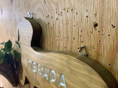 ネームプレートダックスフントスムースアンティークブラウン29×2×20cm文字ホワイト犬型プレートひのき木製ハンドメイドオーダーメイド