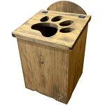 ふた付ダストボックス肉球くりぬき27x28x53cmごみ箱木製ひのきハンドメイドオーダーメイド