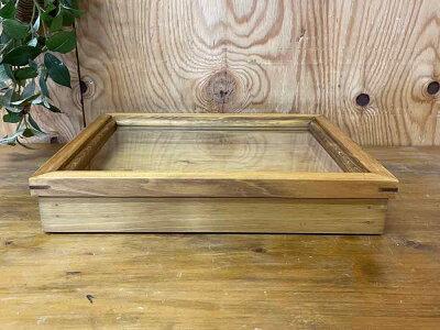 早め発送引き出し式コレクションケースBアンティークブラウン35×27×6cm透明ガラスつまみなし木製ひのきハンドメイド