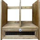 早め発送1642947ブックスタンドチェッカーガラスアンティークブラウンw33d25h34cm引き出しつき木製ひのきハンドメイド