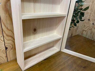 早め発送1603335コレクションケース透明ガラス扉ライトオーク32×10×46cm三段棚付き木製ひのきハンドメイド