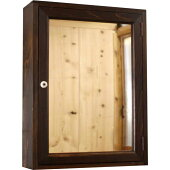 ミラーキャビネット45×15×60cmダークブラウンミラー扉1面ミラー背板つき木製ひのき受注製作