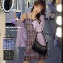 レディースワンピース可愛いシャツ付きワンピースパープル紫黒グリーン緑韓国レディース春夏韓国アイドル衣装ネコポス可能返品交換不可