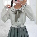 レディースブラウス長袖ブラウスホワイト白韓国リボン可愛い大人レディース春夏韓国トップス衣装ネコポス可能返品交換不可