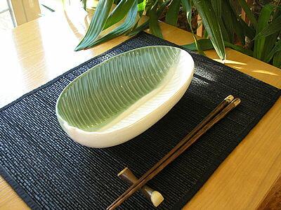 バリ タバナン 食器 プレート カレー パスタ 皿 長皿 楕円リーフ グリーン ホワイト アジアン バリ タイ 雑貨 インテリア