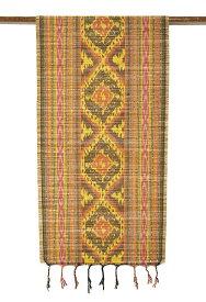 イカットのすだれワイド茶・黄色・オレンジ系[45x160cm] アジアン 雑貨 バリ 雑貨 タイ 雑貨 アジアン インテリア