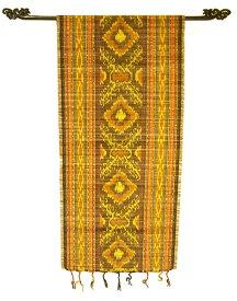 イカットのすだれワイドこげ茶・黄色・オレンジ系[45x160cm] アジアン 雑貨 バリ 雑貨 タイ 雑貨 アジアン インテリア
