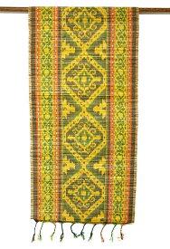 イカットのすだれワイド緑・黄色・オレンジ系[45x160cm] アジアン 雑貨 バリ 雑貨 タイ 雑貨 アジアン インテリア